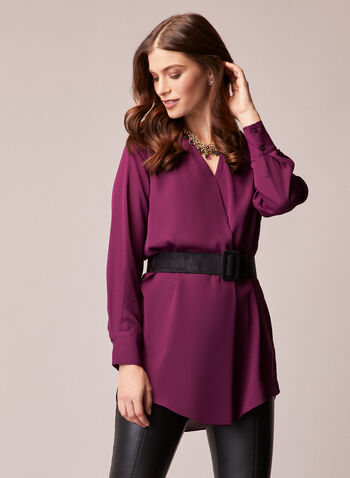 Belted V-Neck Tunic, Purple,  top, tunic, belted, long sleeves, v-neck, crepe, fall winter 2020