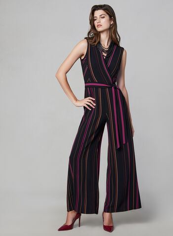 Stripe Print Jumpsuit, Pink,  fall winter 2019, stripe print, sleeveless, wide leg