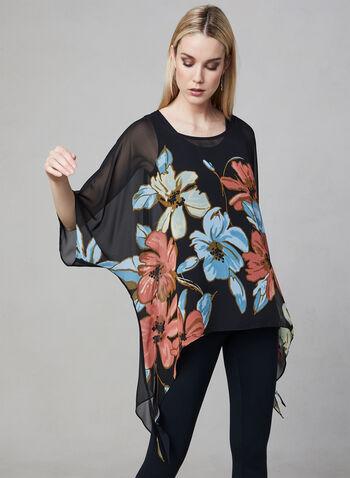 Joseph Ribkoff - Blouse poncho à motif fleurs, Noir, hi-res