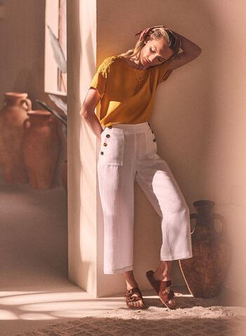Pantalon gaucho à détails de boutons, Blanc,  pantalon, capri, gaucho, pull-on, à enfiler, taille élastique, jambe large, boutons, poches, crêpe, printemps été 2021