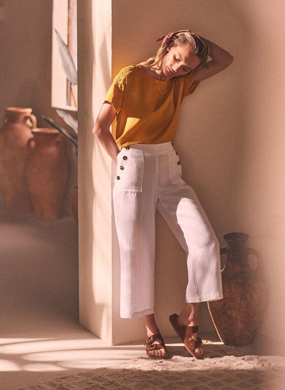 Linen Pull On Gaucho Pants, White