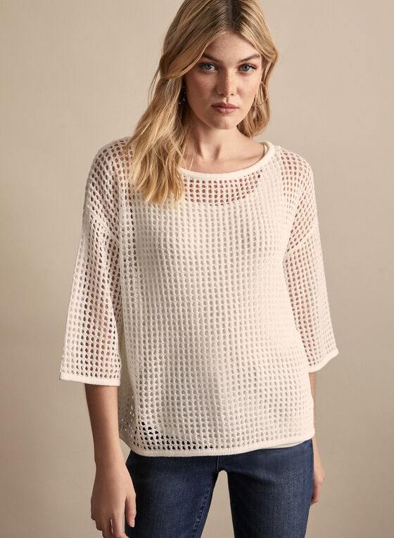 Open Knit Sweater, White