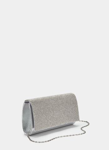 Crystal Embellished Flapover Clutch, Silver, hi-res,  Spring 2019, envelope, glitter