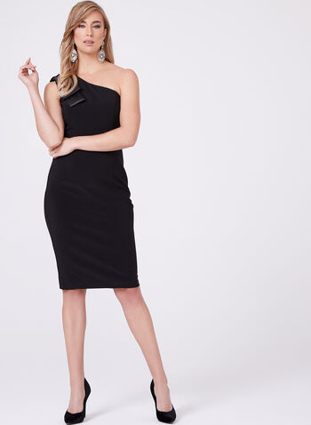 BA Nites - One Shoulder Sheath Dress, Black, hi-res
