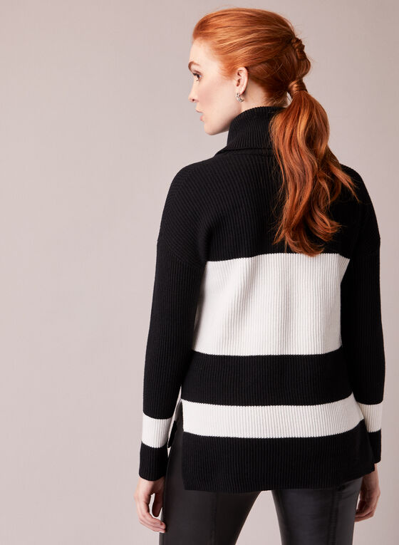 Two Tone Turtleneck Sweater, Black