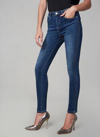 Frank Lyman - Jeans étroit à cristaux, Bleu, hi-res,  automne hiver 2019, jeans, jean, denim, jambe étroite, cristaux, délavé, Frank Lyman
