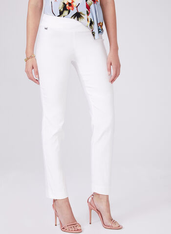 Conrad C - Slim Leg Pull-On Pants, Off White, hi-res