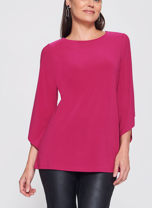 3/4 Asymmetric Bell Sleeve Jersey Top, Pink, hi-res