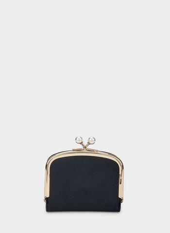 Porte-monnaie à détails perles , Noir,  porte-monnaie, perle, fermoir cliquet, automne hiver 2019