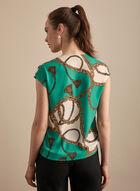 Chain Print Cap Sleeve Blouse, Green