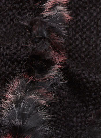 Fur Trim Knit Tube Scarf, Black, hi-res
