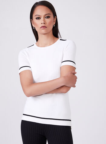 Contrasting Trim Knit T-Shirt , White, hi-res