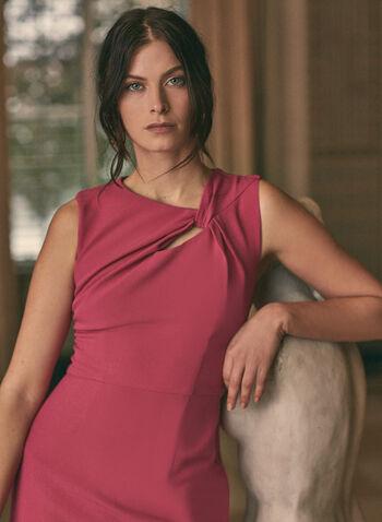 Donna Ricco - Robe fourreau à détail torsadé, Rose,  robe cocktail, col asymétrique, sans manches, détail torsadé, fourreau, crêpe, printemps été 2020
