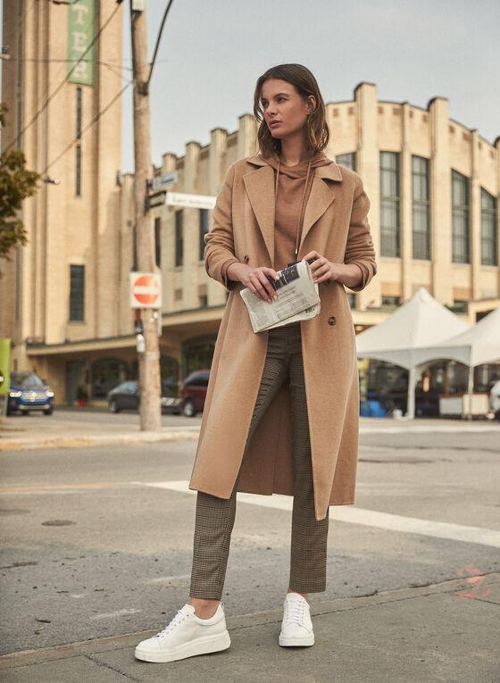 Notch Collar Wool Blend Coat, Beige
