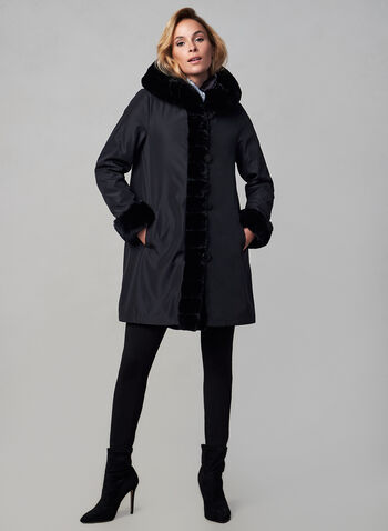 Nuage - Reversible Coat, Black,  fall winter 2019, reversible, faux-fur, nylon, hood