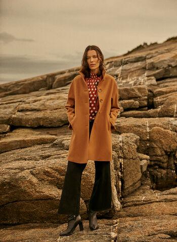 High Collar Wool Blend Coat, Beige,  coat, high neck, wool blend, button front, pockets, lined, long sleeves, fall winter 2020