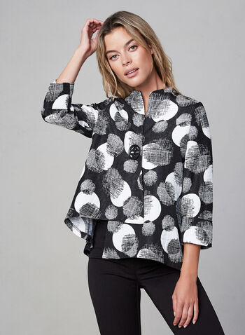 Joseph Ribkoff - Abstract Print Asymmetric Jacket , Black, hi-res,  jacket, asymmetric hemline, abstract print, 3/4 sleeves, Canada, fall 2019, winter 2019