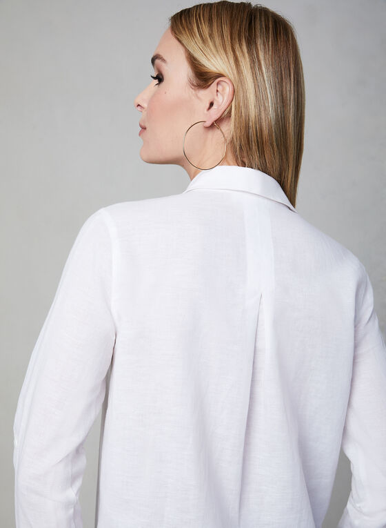 Linen Tunic Blouse, White, hi-res