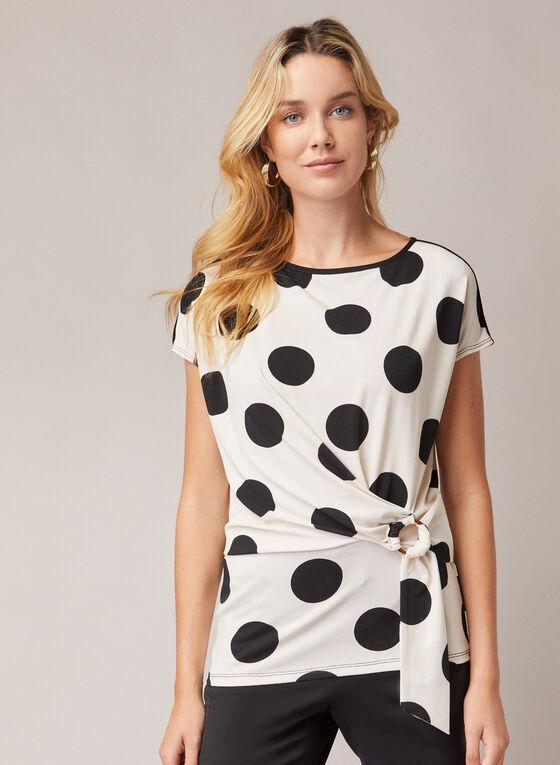 Haut motif pois et détail boucle, Blanc