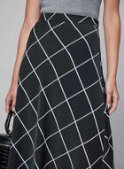 Jupe longue à carreaux contrastants, Noir, hi-res