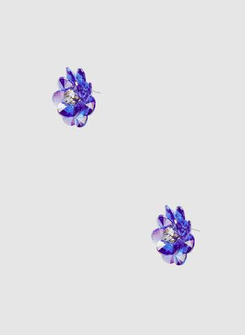 Flower Stud Earrings, Blue, hi-res