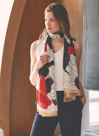 Foulard léger à motif floral , Rouge,  foulard, long, fleurs, contrastes, effet soie, printemps été 2021, accessoires