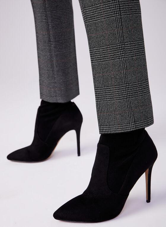 Plaid Print Slim Leg Pants, Black, hi-res