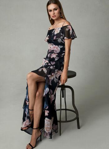 Cachet - Robe fleurie à épaules dénudées et volants, Noir, hi-res