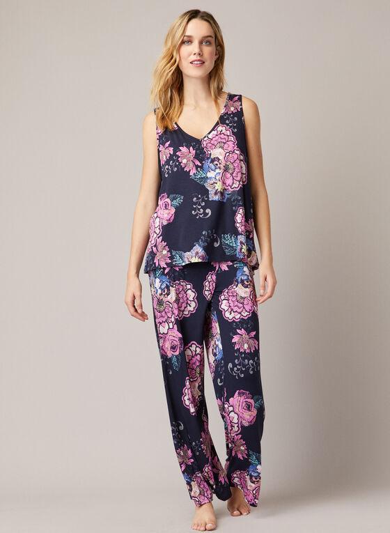 Ensemble pyjama à motif fleuri, Bleu