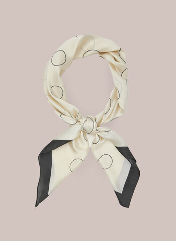 Circle Print Lightweight Scarf, Black,  scarf, square, lightweight, contrast, circle, spring summer 2021