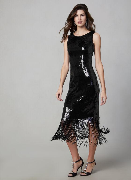Frank Lyman - Fringed Sequin Dress , Black, hi-res