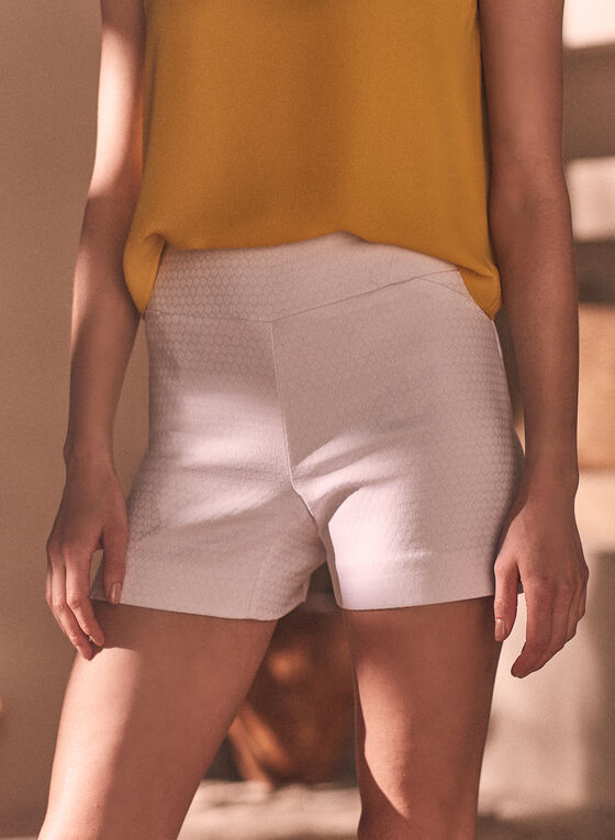 Dotted Pull-On Shorts, White