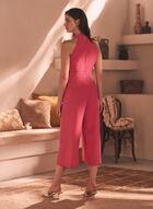 Belt Detail Halter Neck Jumpsuit, Pink