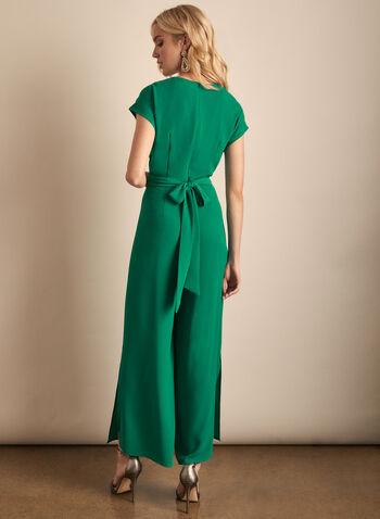 Maggy London - Combinaison en crêpe, Vert,  printemps été 2020, combinaison, jambe large, manches cape, manches courtes, ajour, fente, crêpe, Maggy London