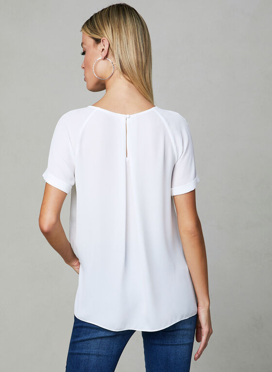 Pleated Chiffon Blouse, Off White, hi-res