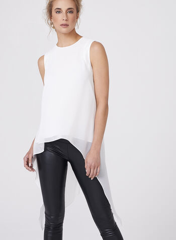 Sleeveless Chiffon High-Low Blouse, Off White, hi-res