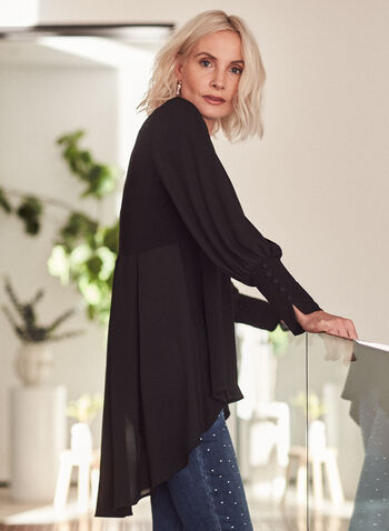 Crepe & Chiffon Tunic, Black,  tunic, top, chiffon, crepe, pleated, boat neck, asymmetric, fall winter 2021