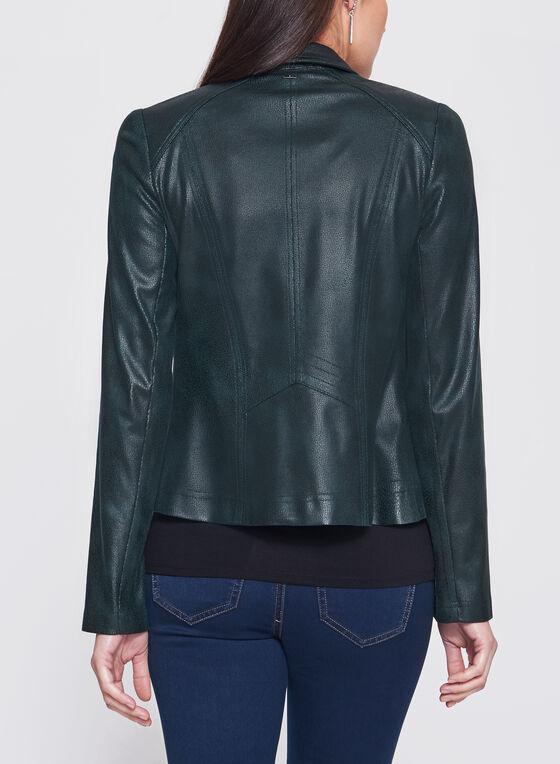 Vex - Zipper Trim Faux Leather Jacket, Green, hi-res