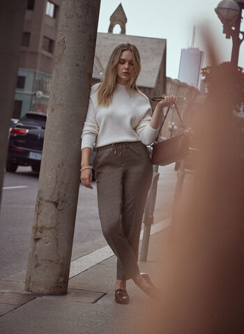 Houndstooth Drawstring Pants, Brown,  pants, drawstring, straight leg, pull on, houndstooth, fall winter 2021