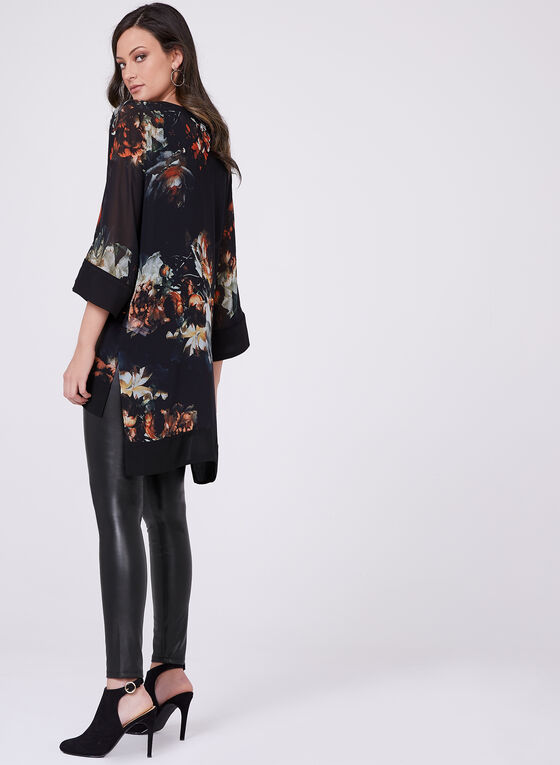 Floral Print ¾ Sleeve High-Low Blouse, Black, hi-res