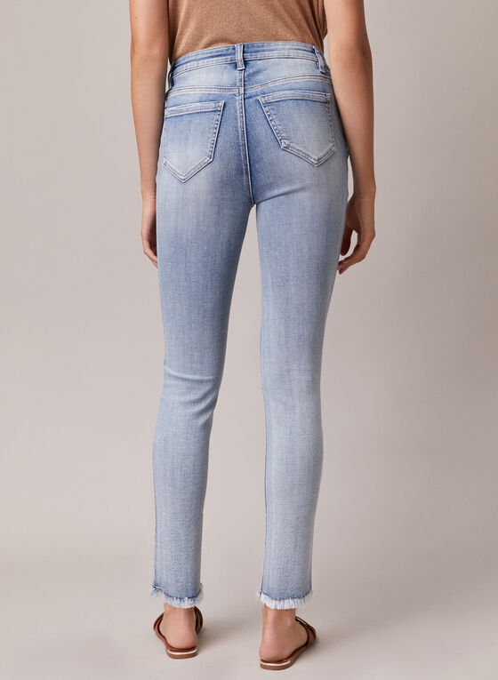 Jeans étroit à motif feuilles dorées, Bleu