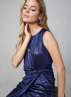 Donna Rico - Sleeveless Shiny Sheath Dress, Blue