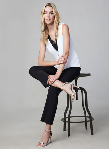 Joseph Ribkoff - Contrast Sleeveless Top, Off White,  sleeveless, contrasting trim, v-neck, crepe fabric, fall 2019, winter 2019