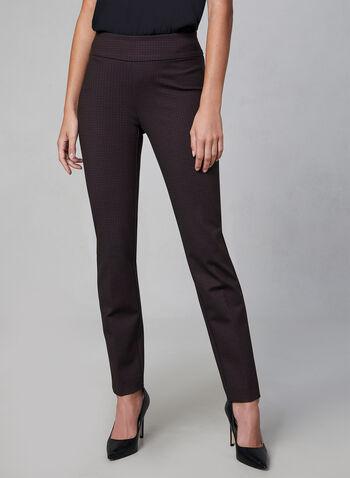 Pantalon coupe Madison motif pied-de-poule, Noir, hi-res,  pantalon, madison, pied-de-poule, point de Rome, pinces, automne hiver 2019