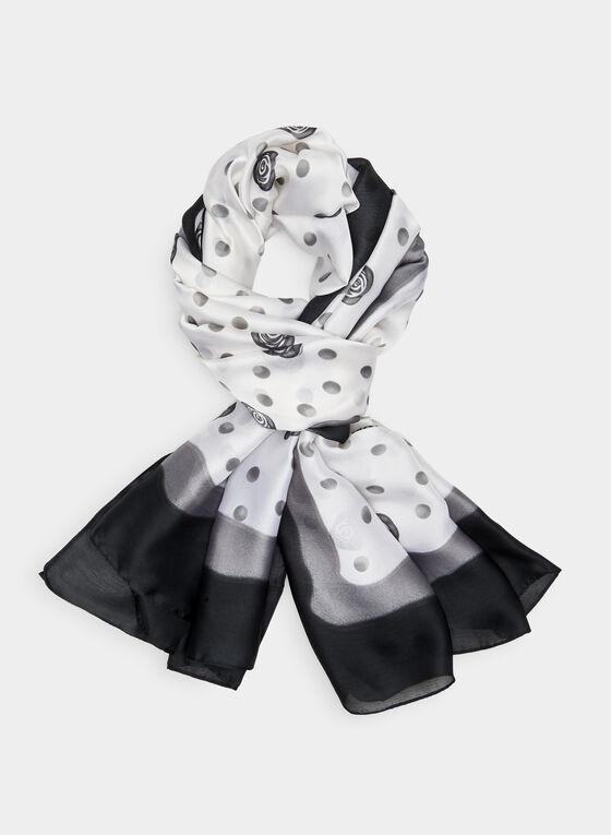 Polka Dot Print Scarf, Black, hi-res