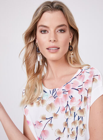 Leaf Print Chiffon Blouse, White, hi-res