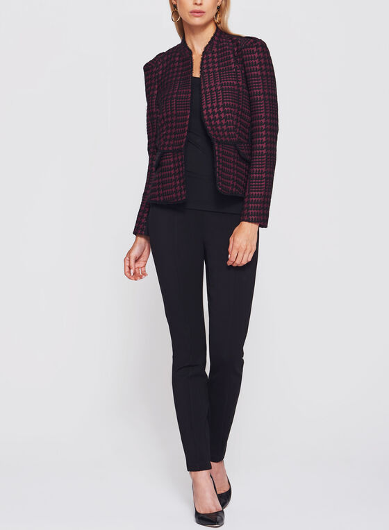 Houndstooth Print Fringe Trim Blazer, Red, hi-res