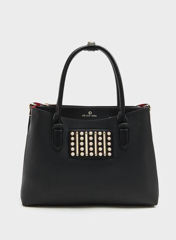 CÉLINE DION - Leather-Like Satchel, Black, hi-res