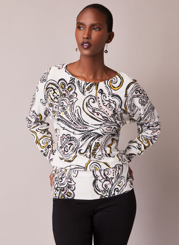 Paisley Print Dolman Sleeve Sweater, White,  fall winter 2020, sweater, pullover, printed, paisley print, scoop neck, long sleeve, dolman, comfort, stretch, blouson, arabesque