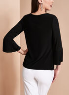 Long Sleeve Pleated Chiffon Blouse, Black, hi-res